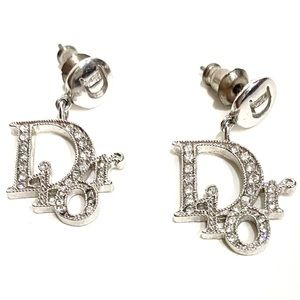 VINTAGE DIOR Oblique Dangle Earrings Silver